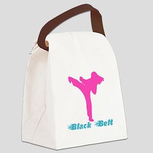 Cute Black Belt Canvas Lunch Bag