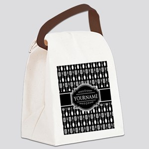Personalized Name Black and White Canvas Lunch Bag