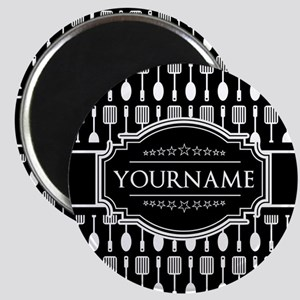 Personalized Name Black and White Spoon Pat Magnet