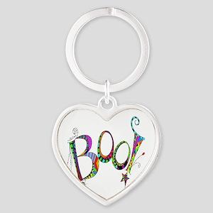 Halloween Boo! Colorful Design Heart Keychain