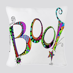 Halloween Boo! Colorful Design Woven Throw Pillow