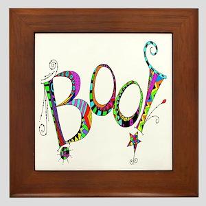 Halloween Boo! Colorful Design Framed Tile