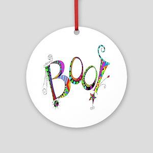 Halloween Boo! Colorful Design Round Ornament