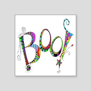 """Halloween Boo! Colorful Des Square Sticker 3"""" x 3"""""""