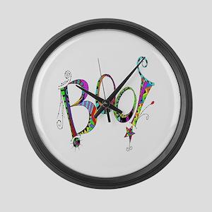 Halloween Boo! Colorful Design Large Wall Clock