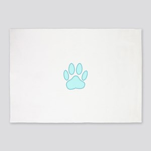 100% Dog Pawprint in Baby Blue 5'x7'Area Rug