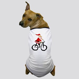 Santa Claus Riding Bicyle Dog T-Shirt
