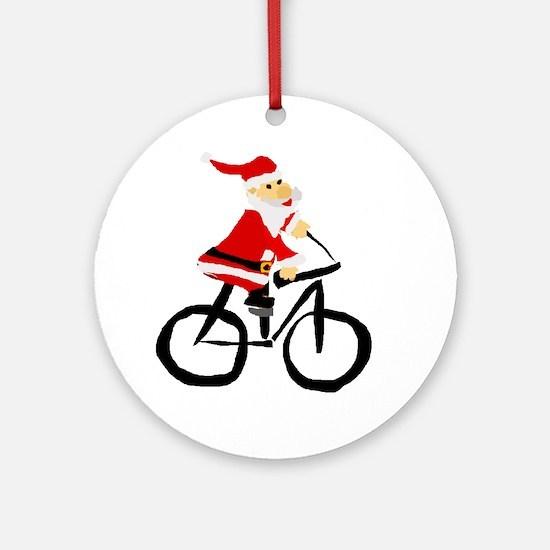 Santa Claus Riding Bicyle Round Ornament