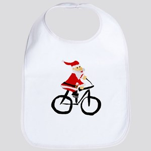Santa Claus Riding Bicyle Bib