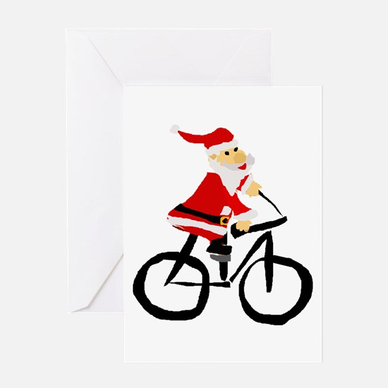 Santa Claus Riding Bicyle Greeting Cards