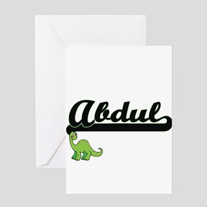 Abdul Classic Name Design with Dino Greeting Cards