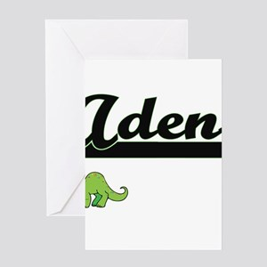 Aden Classic Name Design with Dinos Greeting Cards