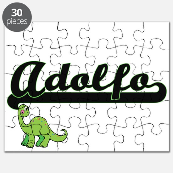 Adolfo Classic Name Design with Dinosaur Puzzle