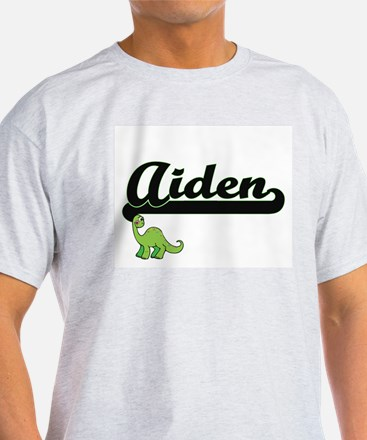 Aiden Classic Name Design with Dinosaur T-Shirt