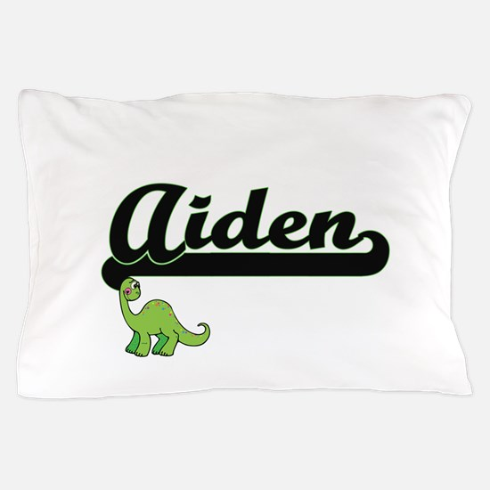 Aiden Classic Name Design with Dinosau Pillow Case