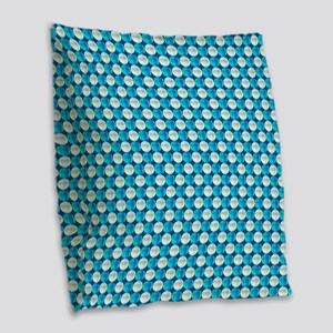 Turquoise And White Beads Burlap Throw Pillow