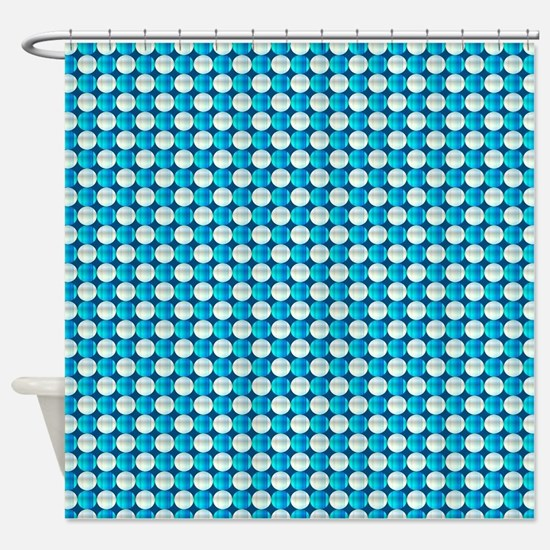 Turquoise And White Beads Shower Curtain