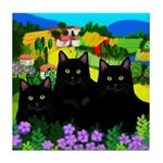 BLACK CATS VILLAGE Tile Coaster