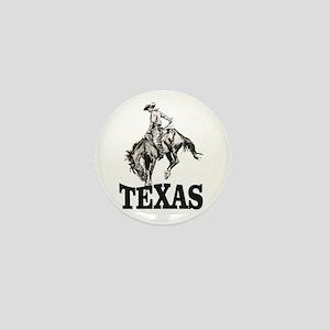 cowboy rides again in texas Mini Button