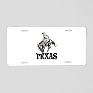 cowboy rides again in texas Aluminum License Plate