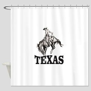 cowboy rides again in texas Shower Curtain