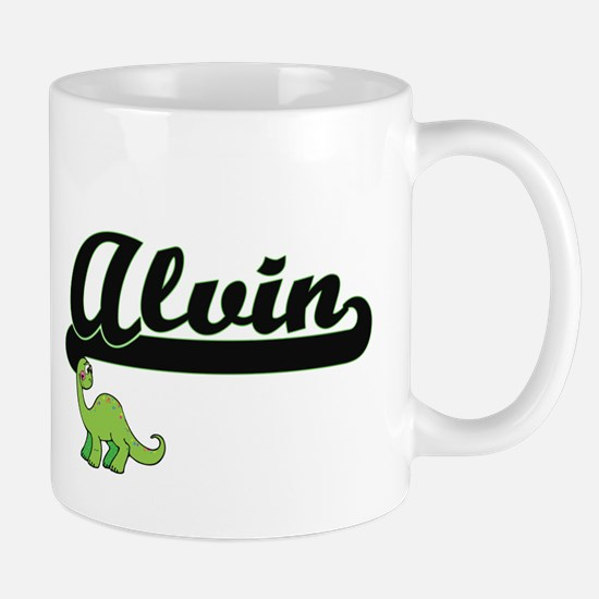 Alvin Classic Name Design with Dinosaur Mugs