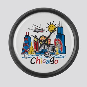 Chicago Kids Dark Large Wall Clock