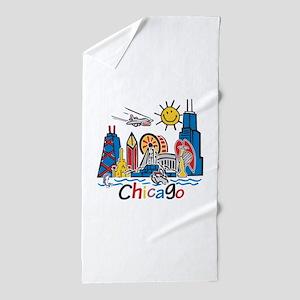 Chicago Kids Dark Beach Towel