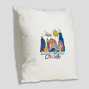 Chicago Kids Dark Burlap Throw Pillow