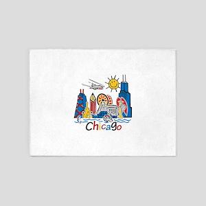 Chicago Kids Dark 5'x7'Area Rug