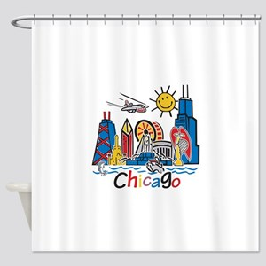 Chicago Kids Dark Shower Curtain