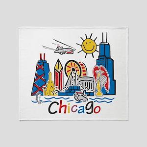 Chicago Kids Dark Throw Blanket