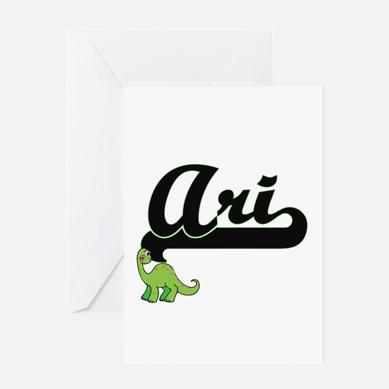 Ari Classic Name Design with Dinosa Greeting Cards
