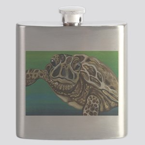Marine Turtle Wildlife Painting Flask