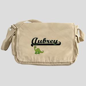 Aubrey Classic Name Design with Dino Messenger Bag