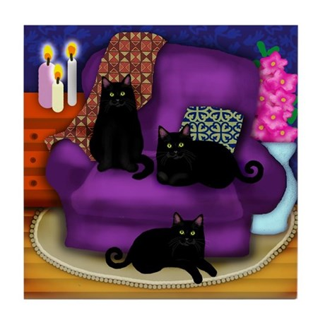 3 BLACK CATS Tile Coaster