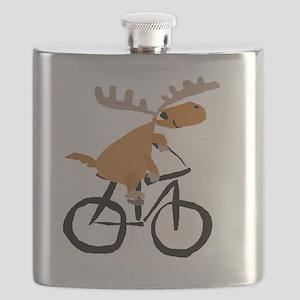 Moose Riding Bicycle Flask