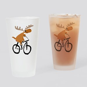 Moose Riding Bicycle Drinking Glass