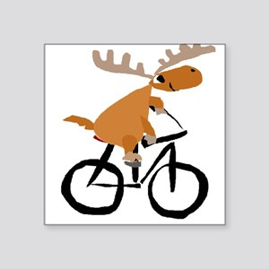 Moose Riding Bicycle Sticker