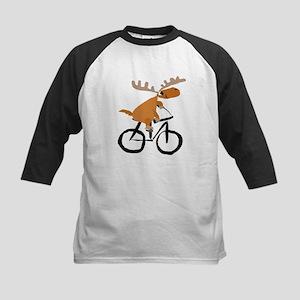 Moose Riding Bicycle Baseball Jersey