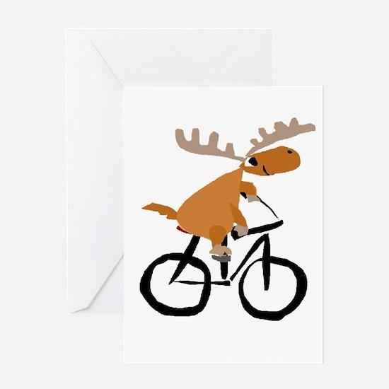 Moose Riding Bicycle Greeting Cards