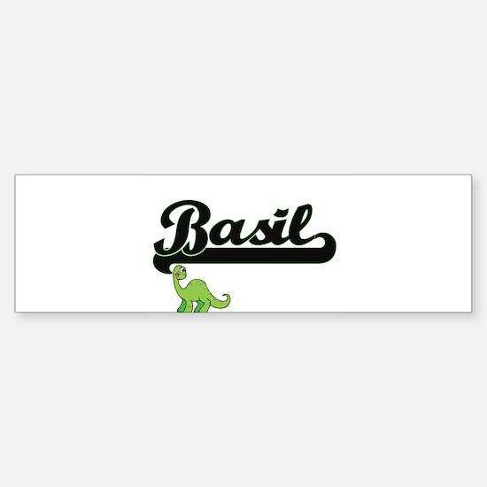 Basil Classic Name Design with Dino Bumper Bumper Bumper Sticker