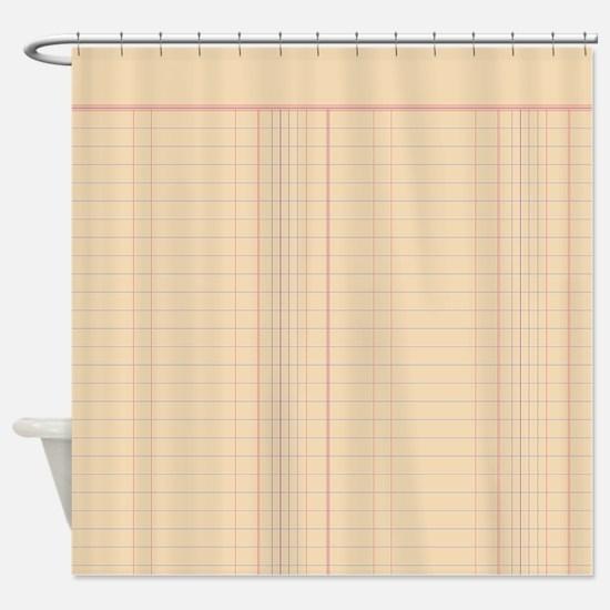 Ledger Paper Shower Curtain