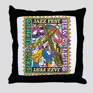 Jazz Fest New Orleans - Bourbon Stree Throw Pillow