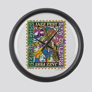 Jazz Fest New Orleans - Bourbon S Large Wall Clock