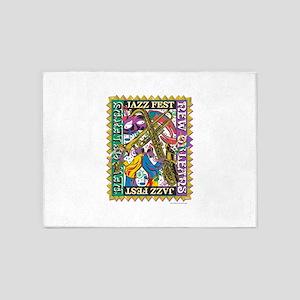 Jazz Fest New Orleans - Bourbon Str 5'x7'Area Rug