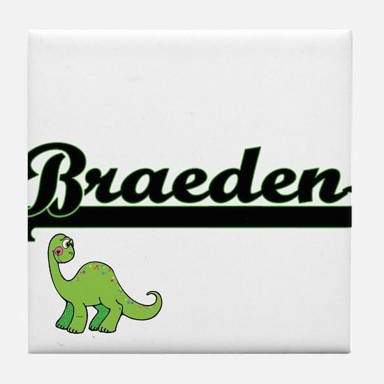 Braeden Classic Name Design with Dino Tile Coaster