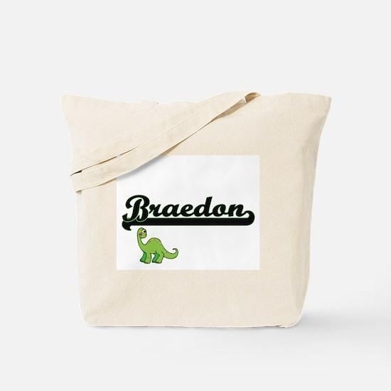 Braedon Classic Name Design with Dinosaur Tote Bag