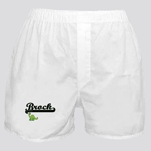 Brock Classic Name Design with Dinosa Boxer Shorts