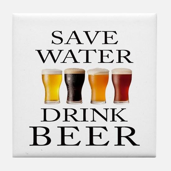 Save Water Drink Beer Tile Coaster
